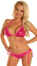 Hot Pink Lover Sequin Bikini