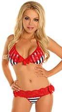 Red Lace Nautical Bikini Set