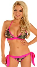 Pink Camouflage Pucker Back Bikini