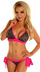 Leopard Pucker Back Bikini