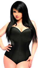 Plus Size Black Satin Corset Bodysuit