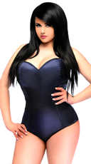 Plus Size Navy Blue Satin Corset Bodysuit