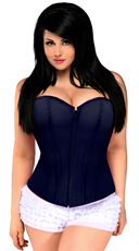 Plus Size Navy Blue Sweetheart Corset