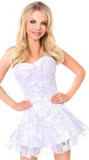 Lavish White and Silver Lace Corset Dress