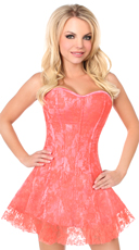 Lavish Coral Lace Corset Dress