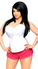 Plus Size White Sweetheart Zip Front Corset