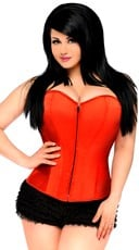 Plus Size Red Sweetheart Zip Front Corset