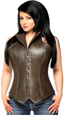 Steel Boned Dark Faux Leather Collared Corset