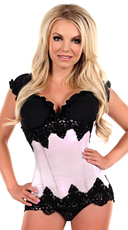 Ivory Beaded Underbust Steel Boned Corset