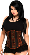 Plus Size Black & Brown Steel Boned Underbust Corset
