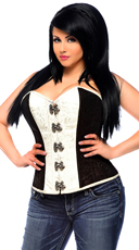 Plus Size White and Black Corset with Buckles