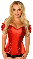 Red Steel Boned Sequin Corset