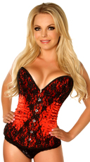 Red Satin and Black Beaded Corset