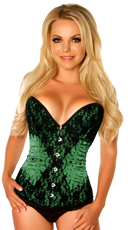 Green Satin and Beaded Corset