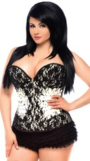 Black Lace and Ivory Satin Sweetheart Corset