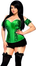 Plus Size Green Sequin Clover Corset