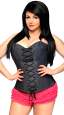 Plus Size Denim Steel Boned Corset