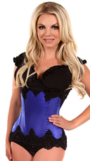 Blue Beaded Underbust Steel Boned Corset