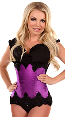 Purple Beaded Steel Boned Waist Cincher