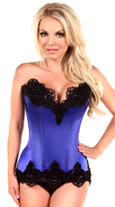 Blue Satin Steel Boned and Beaded Corset