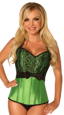 Green Lace and Bow Steel Boned Corset