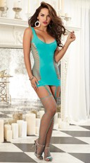 Exclusive Turquoise Opaque Diamond Net Garter Dress