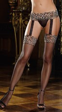 Leopard Garter Belt With Fishnet Stockings