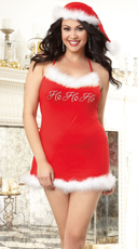 Plus Size Santa's Naughty Helper Chemise and Hat