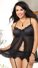 Plus Size Satin Babydoll and Garter Set