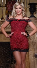 Plus Size Red Leopard Chemise and Thong