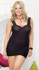 Plus Size Lace-Up Back Chemise and Thong Set