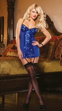 Sequin Garter Chemise and Thong