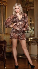 Plus Size Leopard Print and Lace Bra and Robe Set
