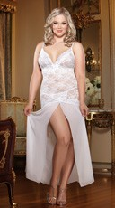 White Plus Size Lace and Chiffon Gown