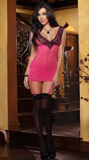 Mesh and Lace Garter Slip with Criss Cross Back
