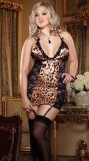 Plus Size Leopard Print Satin and Lace Garter Slip