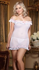 Plus Size White Stretch Mesh Chemise with Lace Trim