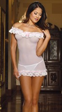 White Stretch Mesh Chemise with Lace Trim