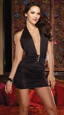 Slinky Halter Dress with Plunging Neckline