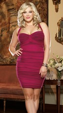 Raspberry Plus Size Double Layered Mesh Illusion Dress
