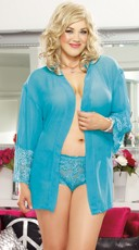Turquoise Plus Size Soft Kimono and Cheeky Panty