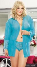 Turquoise Plus Size Soft Kimono and Cheeky Panty