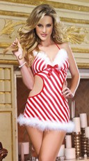 Candy Cane Cutie Apron Babydoll And Thong