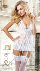 White Bridal Babydoll with Veil Panty
