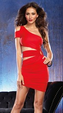 Lady In Red Asymmetrical Club Dress