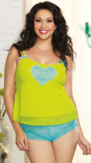 Plus Size Turquoise and Lime Camisole Set