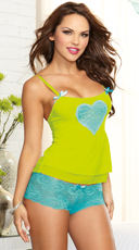 Turquoise and Lime Camisole Set
