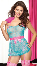 Turquoise Floral Lace Babydoll