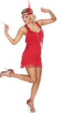 Red Lindy And Lace Flapper Costume