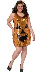 Plus Size Sequin Pretty Pumpkin Costume